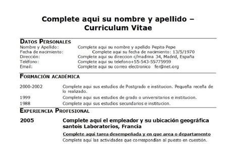 Ejemplo de curriculum vitae para rellenar jpg 900x543